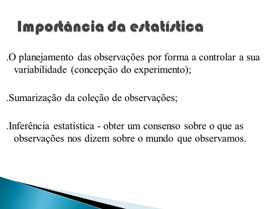 .O planejamento das observações por forma a controlar a sua variabilidade (concepção do experimento);.Sumarização da coleção de observações;.Inferênci