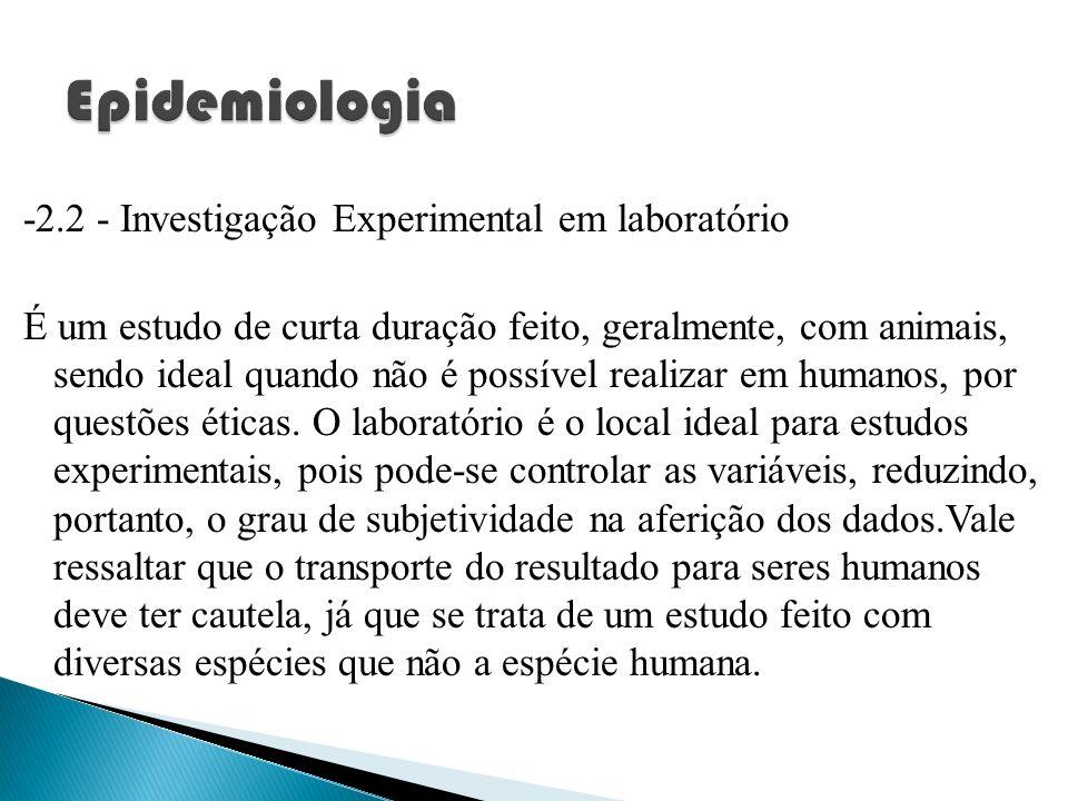 -2.2 - Investigação Experimental em laboratório É um estudo de curta duração feito, geralmente, com animais, sendo ideal quando não é possível realiza