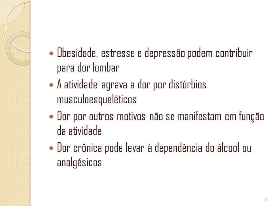 Obesidade, estresse e depressão podem contribuir para dor lombar A atividade agrava a dor por distúrbios musculoesqueléticos Dor por outros motivos nã