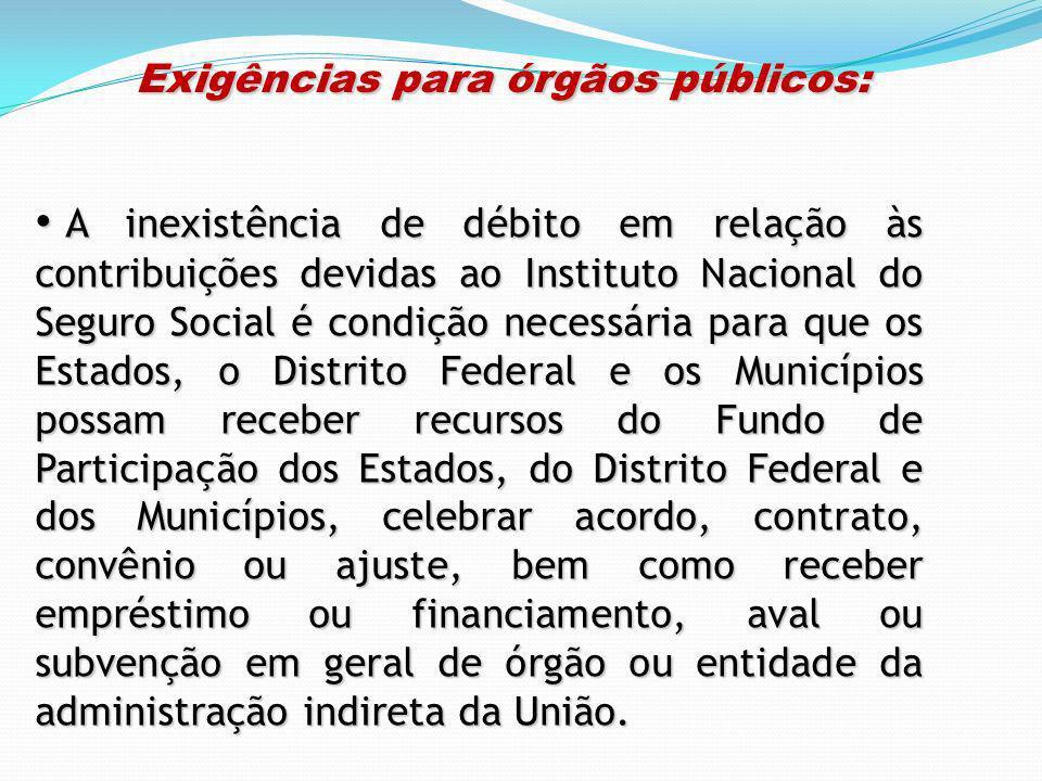 Exigências para órgãos públicos: Exigências para órgãos públicos: A inexistência de débito em relação às contribuições devidas ao Instituto Nacional d