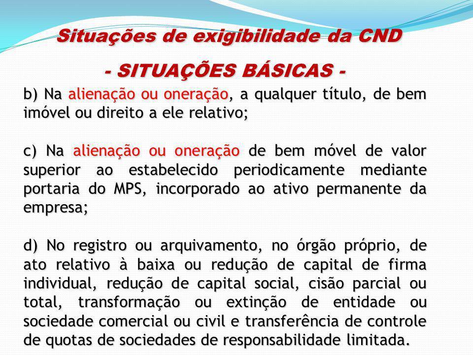 Situações de exigibilidade da CND Situações de exigibilidade da CND - SITUAÇÕES BÁSICAS - b) Na alienação ou oneração, a qualquer título, de bem imóve
