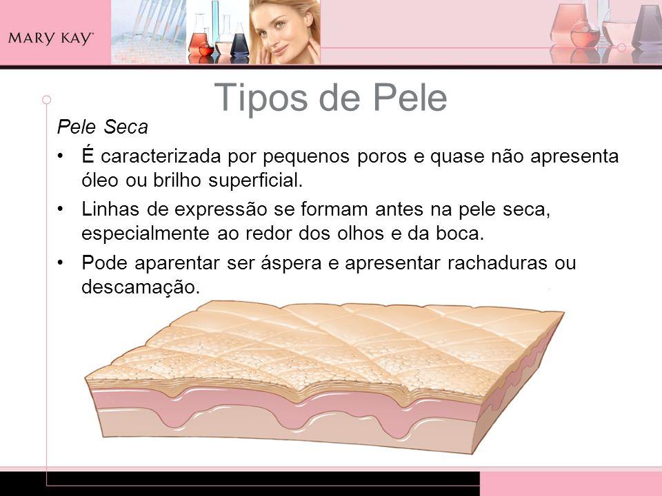 Tipos de Pele Pele Seca É caracterizada por pequenos poros e quase não apresenta óleo ou brilho superficial. Linhas de expressão se formam antes na pe