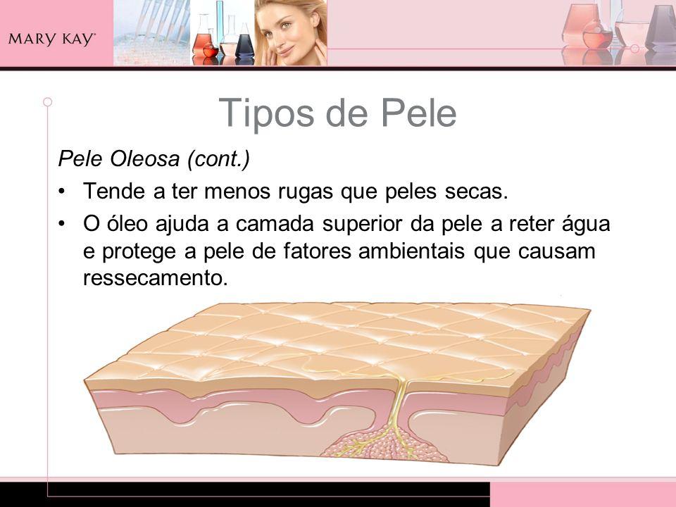 Tipos de Pele Pele Oleosa (cont.) Tende a ter menos rugas que peles secas. O óleo ajuda a camada superior da pele a reter água e protege a pele de fat