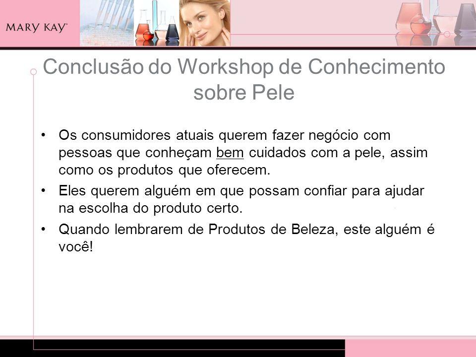 Conclusão do Workshop de Conhecimento sobre Pele Os consumidores atuais querem fazer negócio com pessoas que conheçam bem cuidados com a pele, assim c