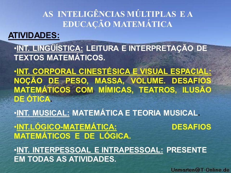 AS INTELIGÊNCIAS MÚLTIPLAS E A EDUCAÇÃO MATEMÁTICA ATIVIDADES: INT. LINGÜÍSTICA: LEITURA E INTERPRETAÇÃO DE TEXTOS MATEMÁTICOS. INT. CORPORAL CINESTÉS