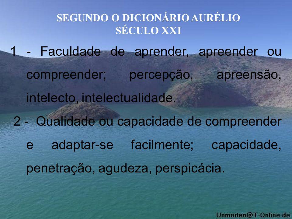 SEGUNDO O DICIONÁRIO AURÉLIO SÉCULO XXI 1 - Faculdade de aprender, apreender ou compreender; percepção, apreensão, intelecto, intelectualidade. 2 - Qu