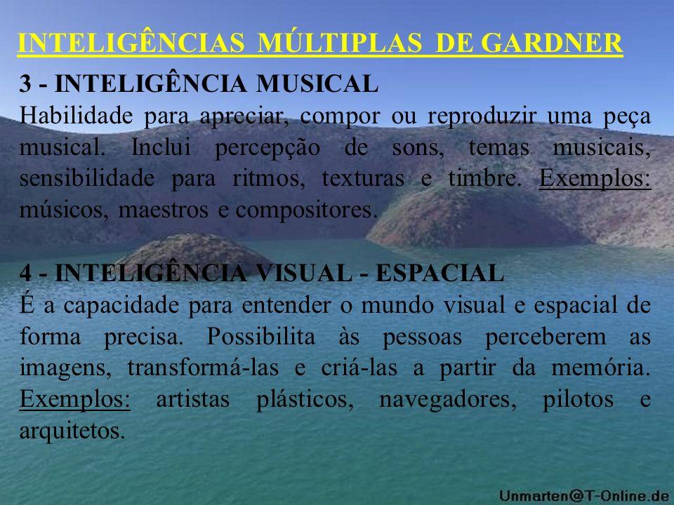 3 - INTELIGÊNCIA MUSICAL Habilidade para apreciar, compor ou reproduzir uma peça musical. Inclui percepção de sons, temas musicais, sensibilidade para