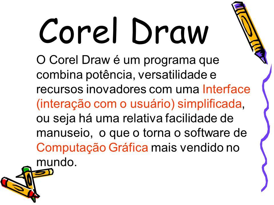Corel Draw O Corel Draw é um programa que combina potência, versatilidade e recursos inovadores com uma Interface (interação com o usuário) simplifica