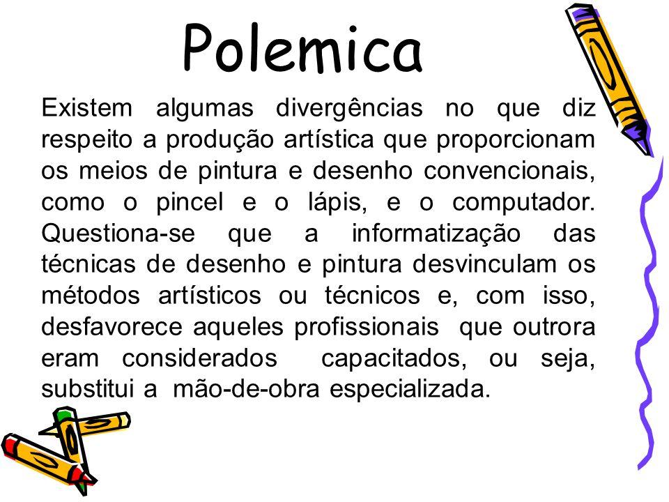 Polemica Existem algumas divergências no que diz respeito a produção artística que proporcionam os meios de pintura e desenho convencionais, como o pi