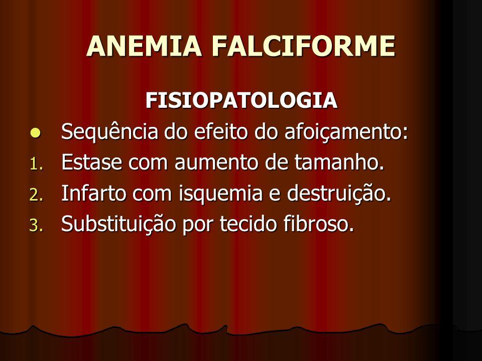 ANEMIA FALCIFORME FISIOPATOLOGIA Sequência do efeito do afoiçamento: Sequência do efeito do afoiçamento: 1. Estase com aumento de tamanho. 2. Infarto