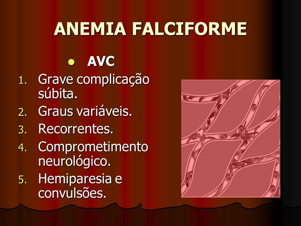 ANEMIA FALCIFORME AVC AVC 1. Grave complicação súbita. 2. Graus variáveis. 3. Recorrentes. 4. Comprometimento neurológico. 5. Hemiparesia e convulsões