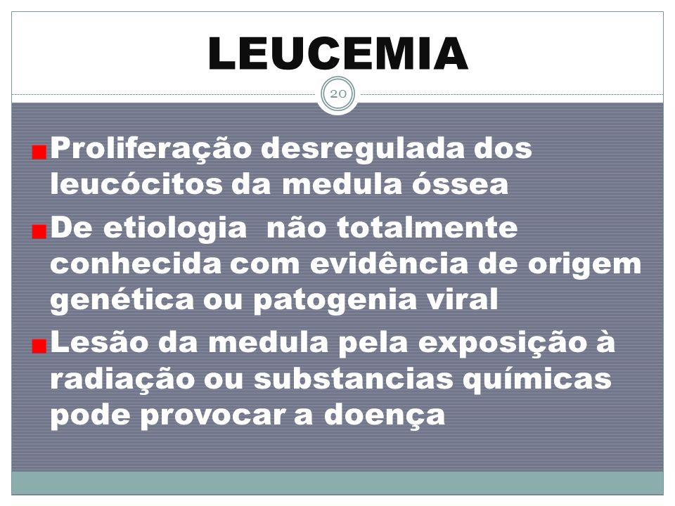 LEUCEMIA Proliferação desregulada dos leucócitos da medula óssea De etiologia não totalmente conhecida com evidência de origem genética ou patogenia v