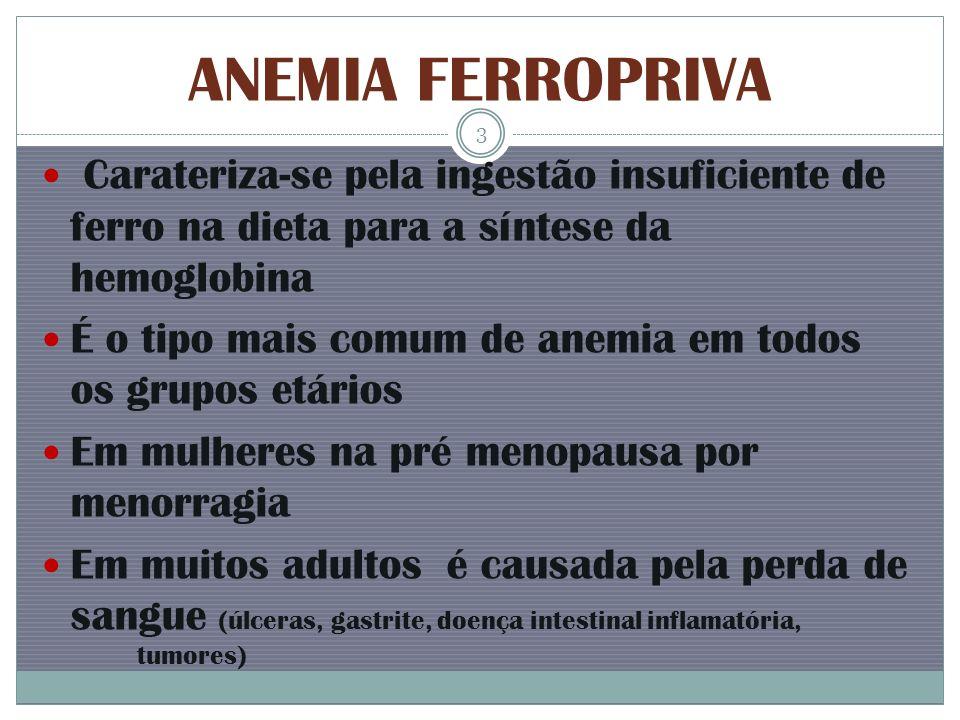 ANEMIA FERROPRIVA Carateriza-se pela ingestão insuficiente de ferro na dieta para a síntese da hemoglobina É o tipo mais comum de anemia em todos os g