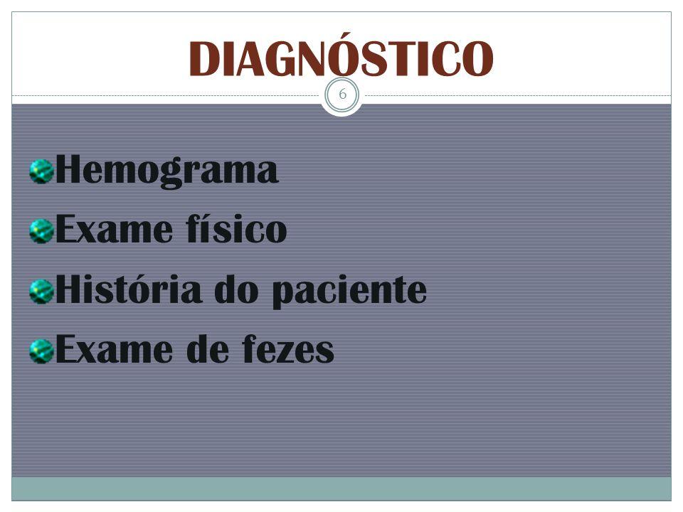 DIAGNÓSTICO Hemograma Exame físico História do paciente Exame de fezes 6