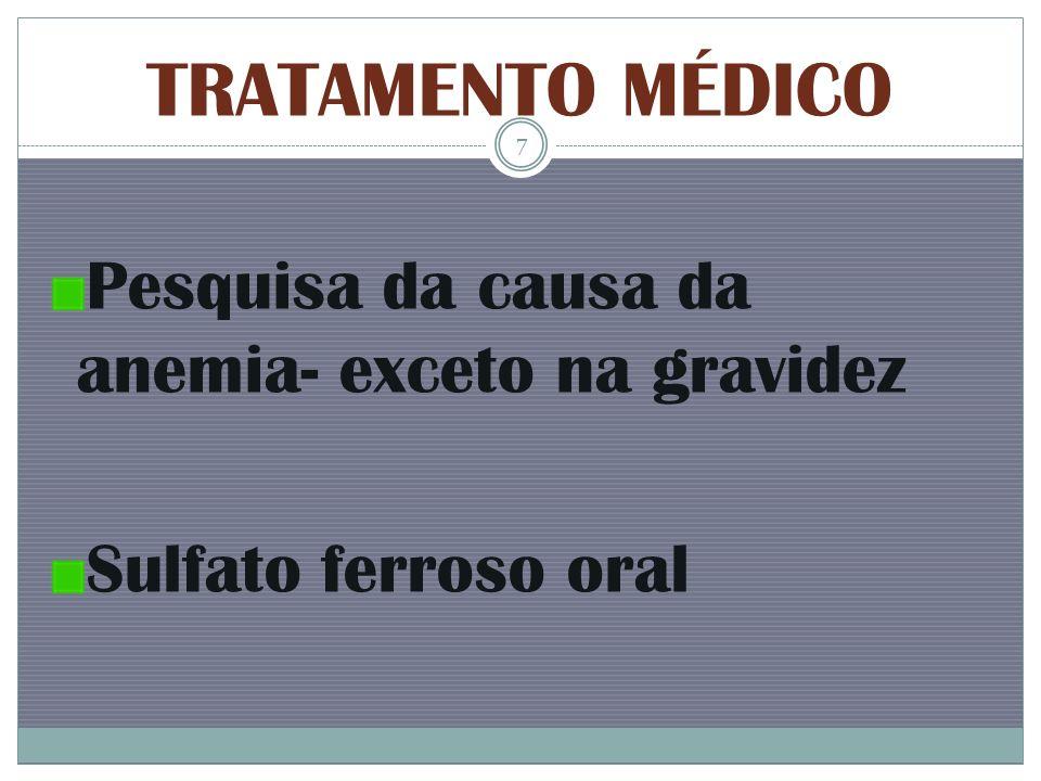 TRATAMENTO MÉDICO Pesquisa da causa da anemia- exceto na gravidez Sulfato ferroso oral 7