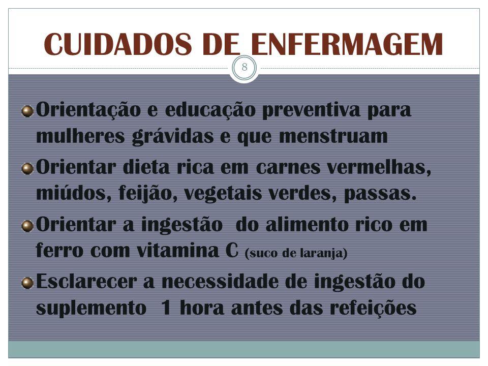 CUIDADOS DE ENFERMAGEM Orientação e educação preventiva para mulheres grávidas e que menstruam Orientar dieta rica em carnes vermelhas, miúdos, feijão