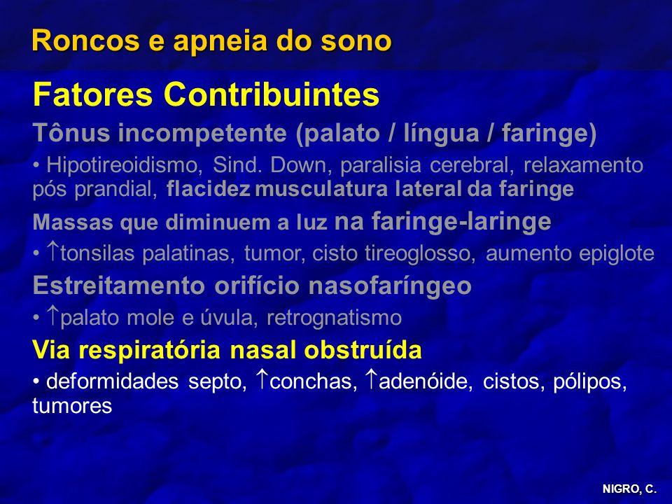 NIGRO, C. Roncos e apneia do sono Fatores Contribuintes Tônus incompetente (palato / língua / faringe) Hipotireoidismo, Sind. Down, paralisia cerebral