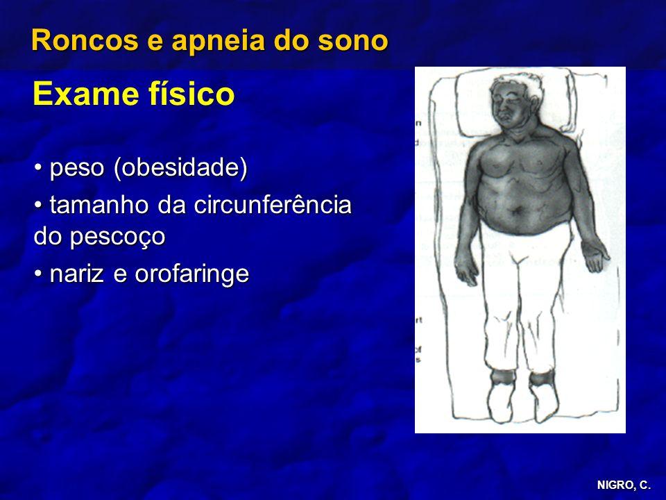 NIGRO, C. Roncos e apneia do sono Exame físico peso (obesidade) peso (obesidade) tamanho da circunferência do pescoço tamanho da circunferência do pes