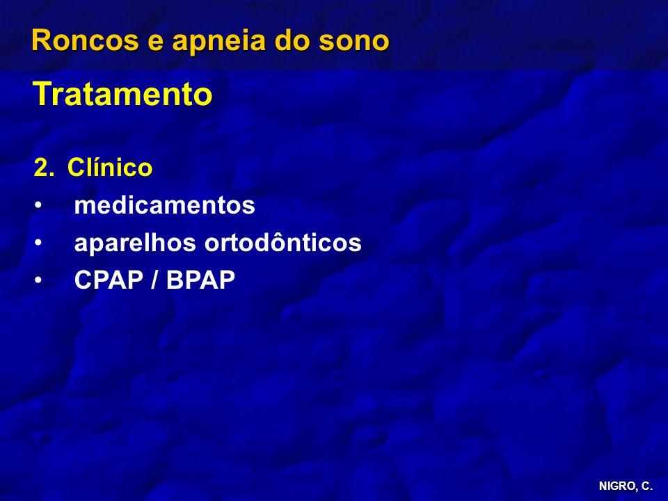 NIGRO, C. Roncos e apneia do sono Tratamento 2. 2.Clínico medicamentos aparelhos ortodônticos CPAP / BPAP