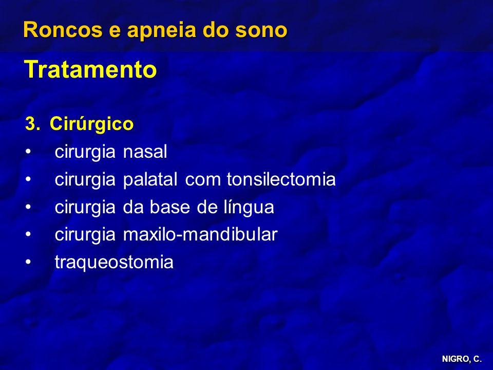 NIGRO, C. Roncos e apneia do sono Tratamento 3. 3.Cirúrgico cirurgia nasal cirurgia palatal com tonsilectomia cirurgia da base de língua cirurgia maxi