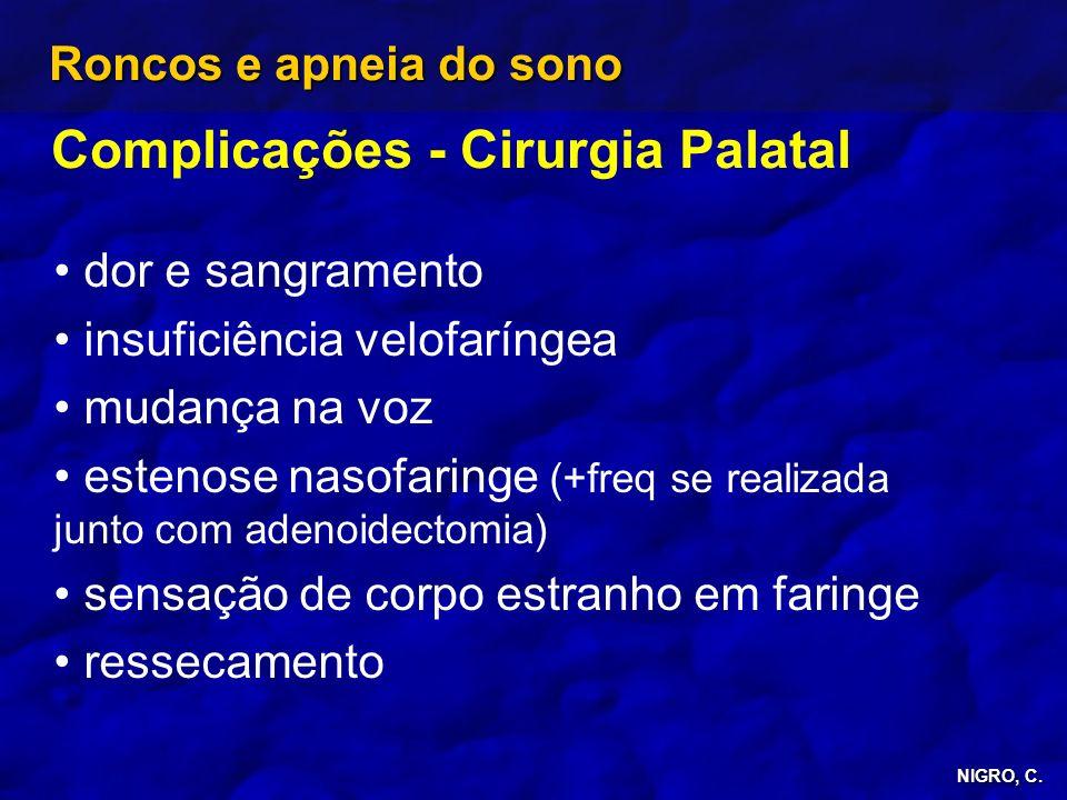 NIGRO, C. Roncos e apneia do sono Complicações - Cirurgia Palatal dor e sangramento insuficiência velofaríngea mudança na voz estenose nasofaringe (+f