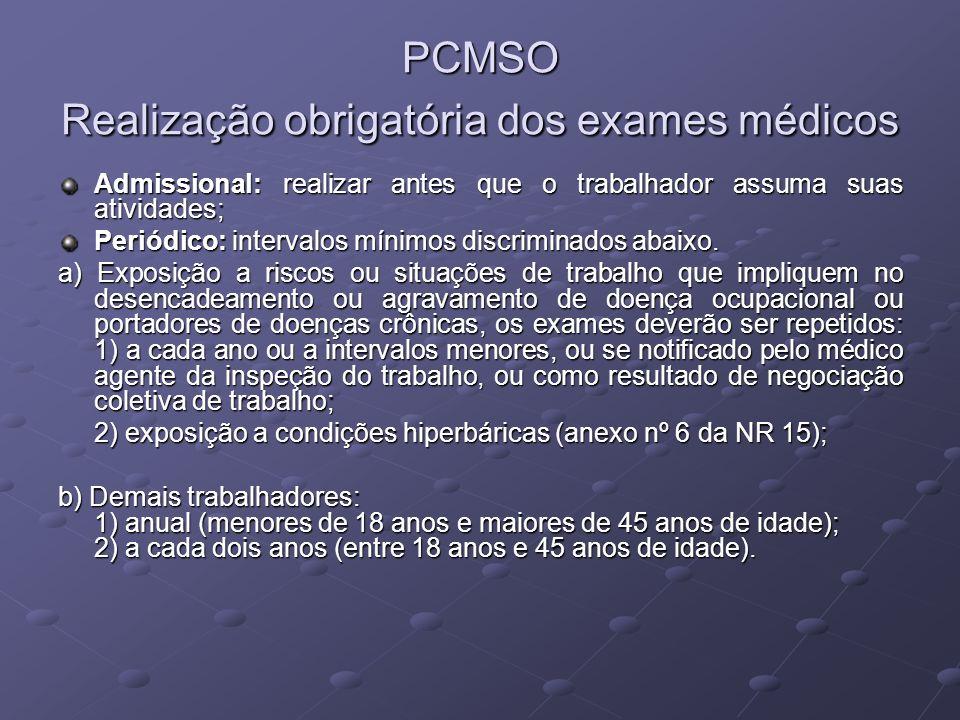 PCMSO Realização obrigatória dos exames médicos Admissional: realizar antes que o trabalhador assuma suas atividades; Periódico: intervalos mínimos di