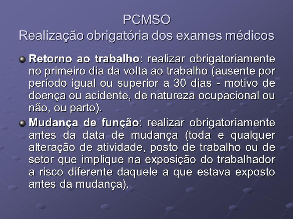 PCMSO Realização obrigatória dos exames médicos Retorno ao trabalho: realizar obrigatoriamente no primeiro dia da volta ao trabalho (ausente por perío