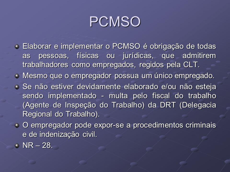 PCMSO Elaborar e implementar o PCMSO é obrigação de todas as pessoas, físicas ou jurídicas, que admitirem trabalhadores como empregados, regidos pela