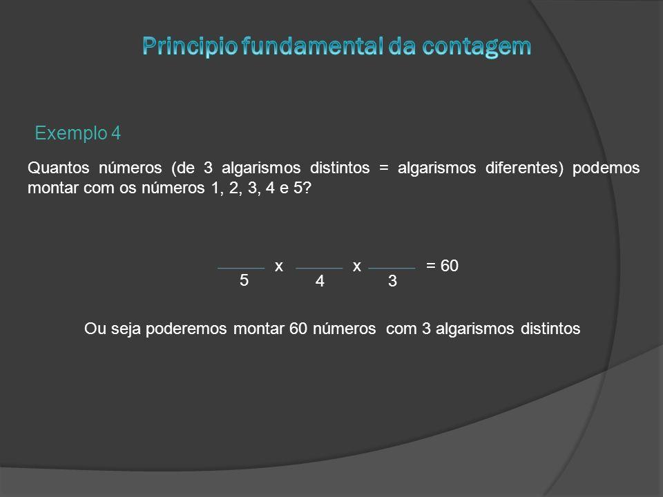 Exemplo 4 Quantos números (de 3 algarismos distintos = algarismos diferentes) podemos montar com os números 1, 2, 3, 4 e 5? x 5 43 x= 60 Ou seja poder