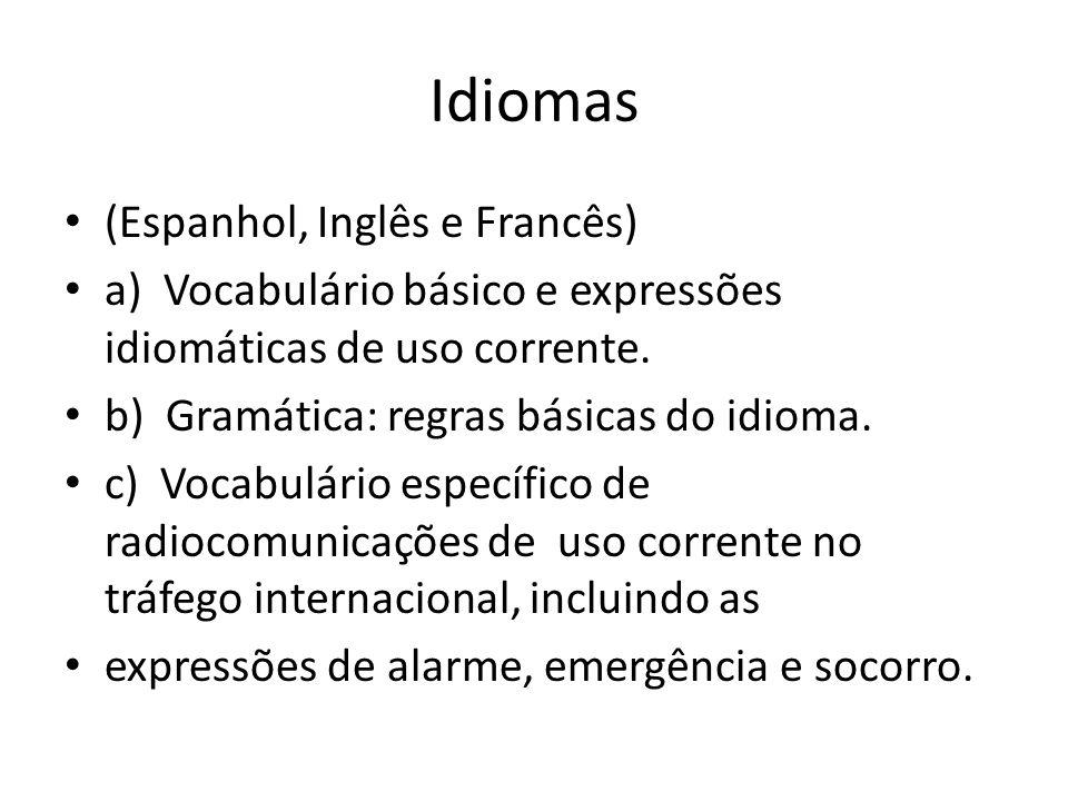 Idiomas (Espanhol, Inglês e Francês) a) Vocabulário básico e expressões idiomáticas de uso corrente. b) Gramática: regras básicas do idioma. c) Vocabu