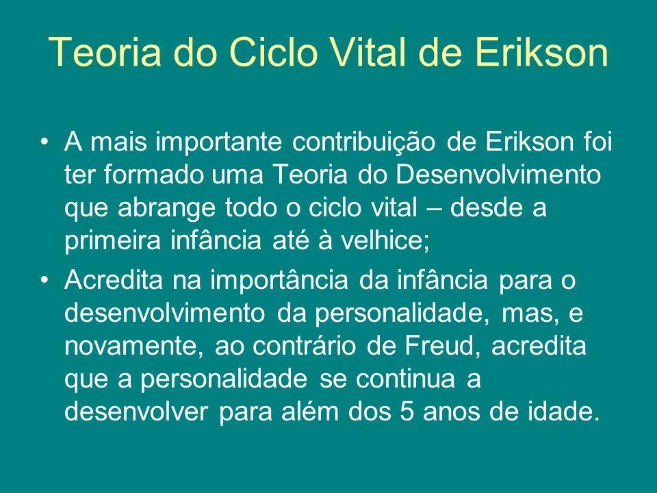 Teoria do Ciclo Vital de Erikson A mais importante contribuição de Erikson foi ter formado uma Teoria do Desenvolvimento que abrange todo o ciclo vita