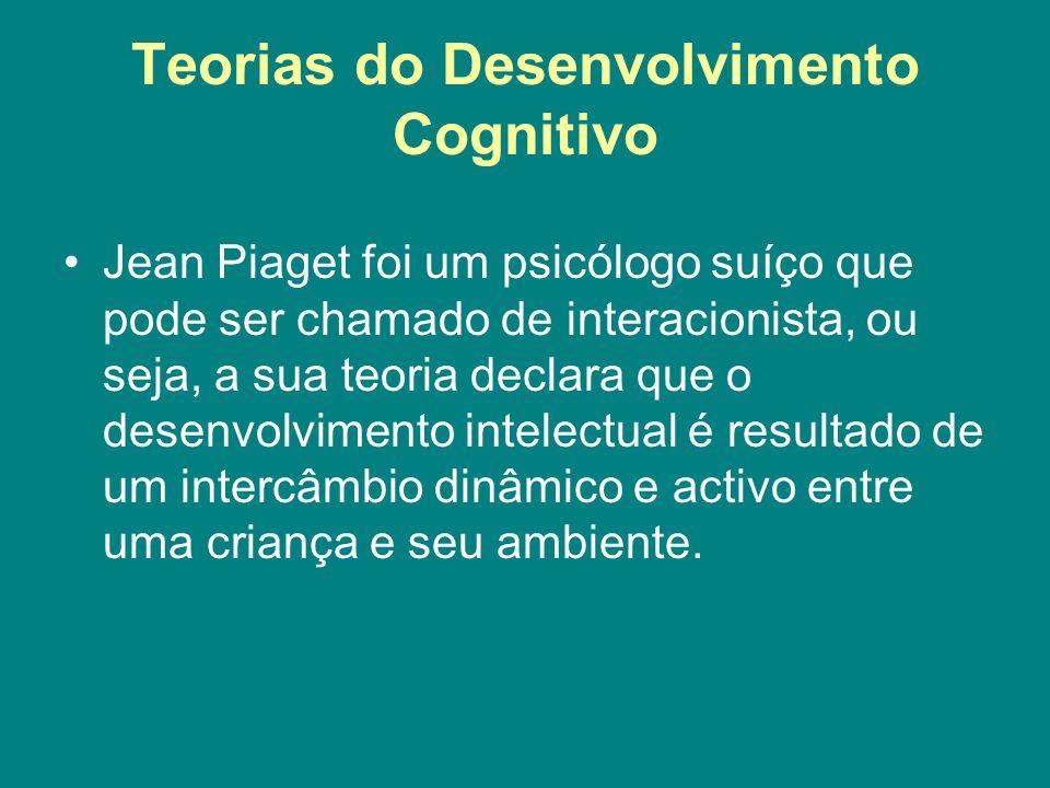 Teorias do Desenvolvimento Cognitivo Jean Piaget foi um psicólogo suíço que pode ser chamado de interacionista, ou seja, a sua teoria declara que o de