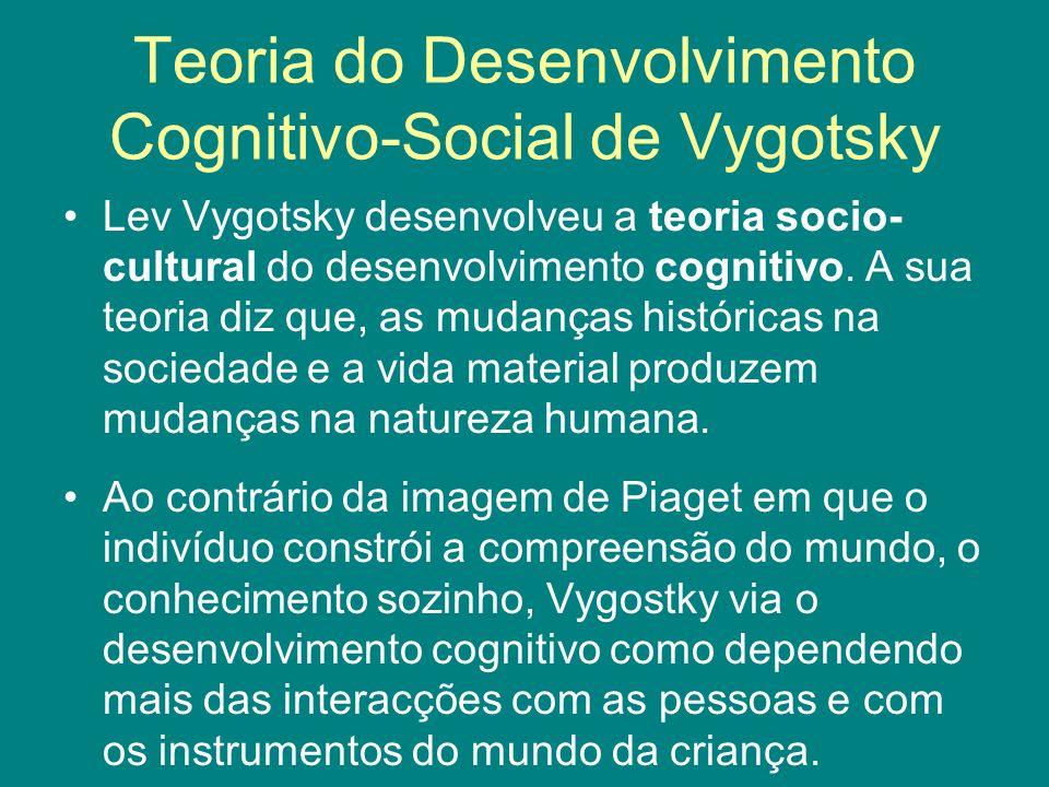 Teoria do Desenvolvimento Cognitivo-Social de Vygotsky Lev Vygotsky desenvolveu a teoria socio- cultural do desenvolvimento cognitivo. A sua teoria di