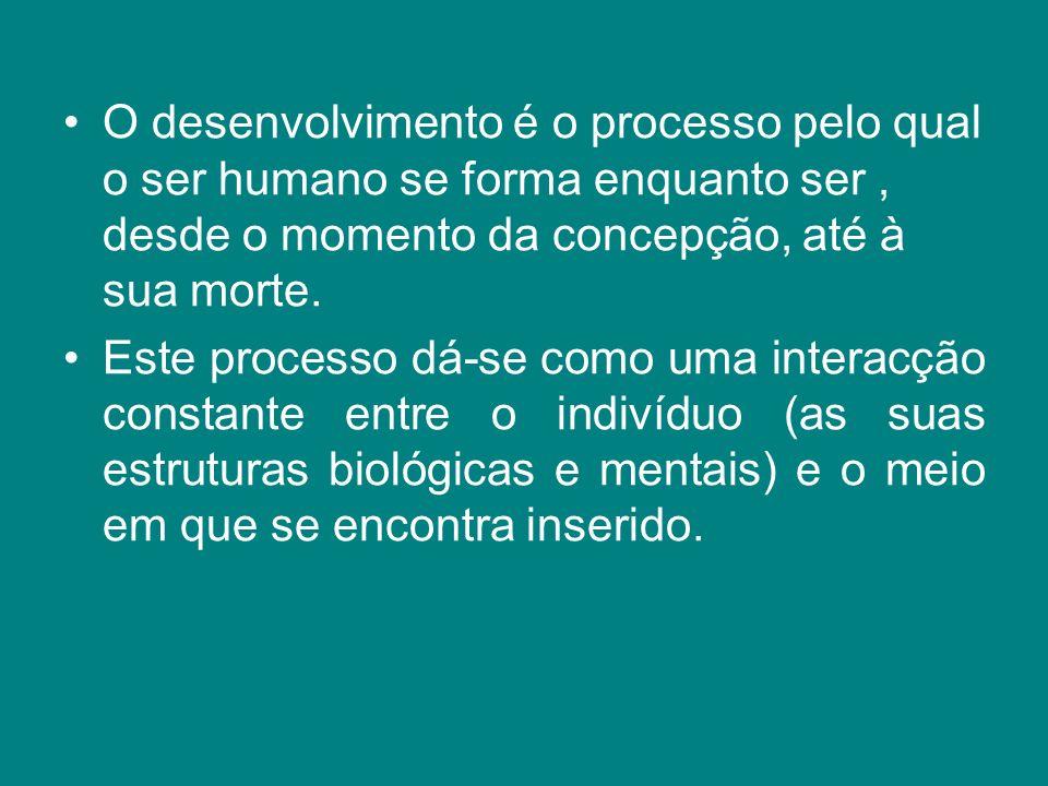 O desenvolvimento é o processo pelo qual o ser humano se forma enquanto ser, desde o momento da concepção, até à sua morte. Este processo dá-se como u