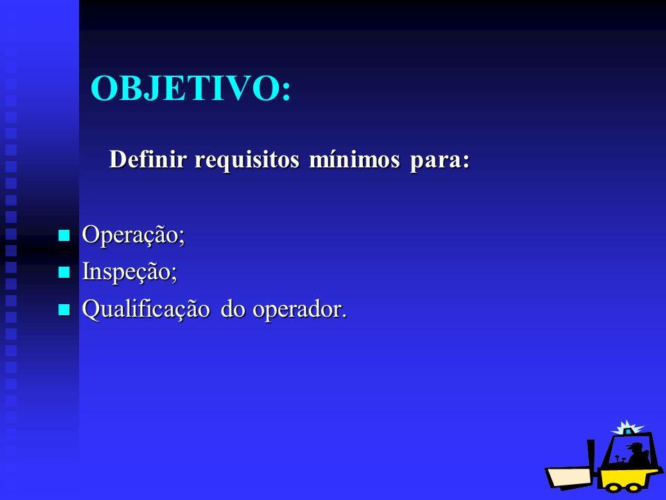 2 OBJETIVO: Definir requisitos mínimos para: Definir requisitos mínimos para: Operação; Operação; Inspeção; Inspeção; Qualificação do operador. Qualif