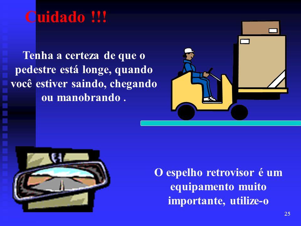 25 Tenha a certeza de que o pedestre está longe, quando você estiver saindo, chegando ou manobrando. O espelho retrovisor é um equipamento muito impor