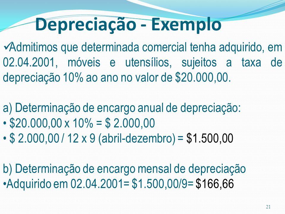 20 Assunto: Depreciação REVISÃO