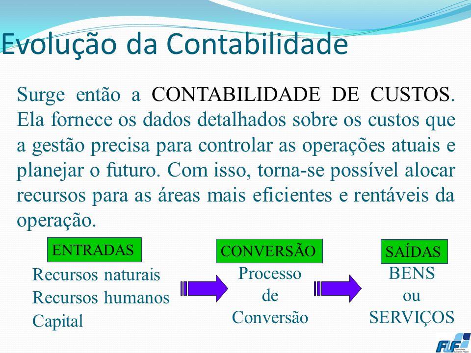 Evolução da Contabilidade 4 Até a Revolução Industrial (Séc. XVIII) predominava a CONTABILIDADE FINANCEIRA que atendia às empresas comerciais. Para a