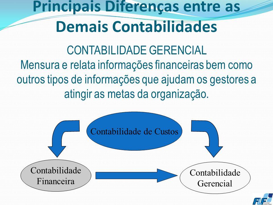 Principais Diferenças entre as Demais Contabilidades 8 CONTABILIDADE FINANCEIRA Preocupada em registrar os fatos concentrando-se nos demonstrativos di