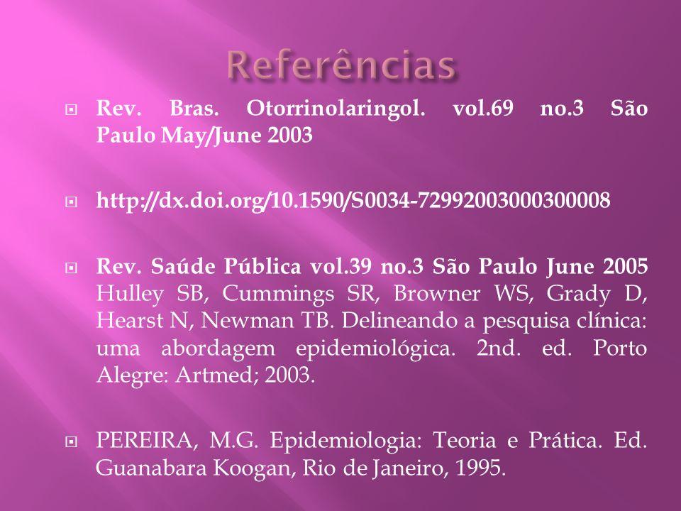 Rev. Bras. Otorrinolaringol. vol.69 no.3 São Paulo May/June 2003 http://dx.doi.org/10.1590/S0034-72992003000300008 Rev. Saúde Pública vol.39 no.3 São