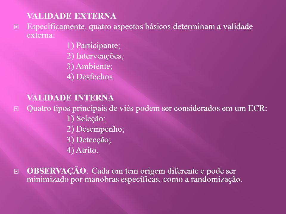 VALIDADE EXTERNA Especificamente, quatro aspectos básicos determinam a validade externa: 1) Participante; 2) Intervenções; 3) Ambiente; 4) Desfechos.