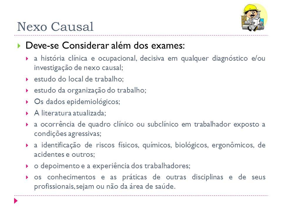 Nexo Causal Deve-se Considerar além dos exames: a história clínica e ocupacional, decisiva em qualquer diagnóstico e/ou investigação de nexo causal; e