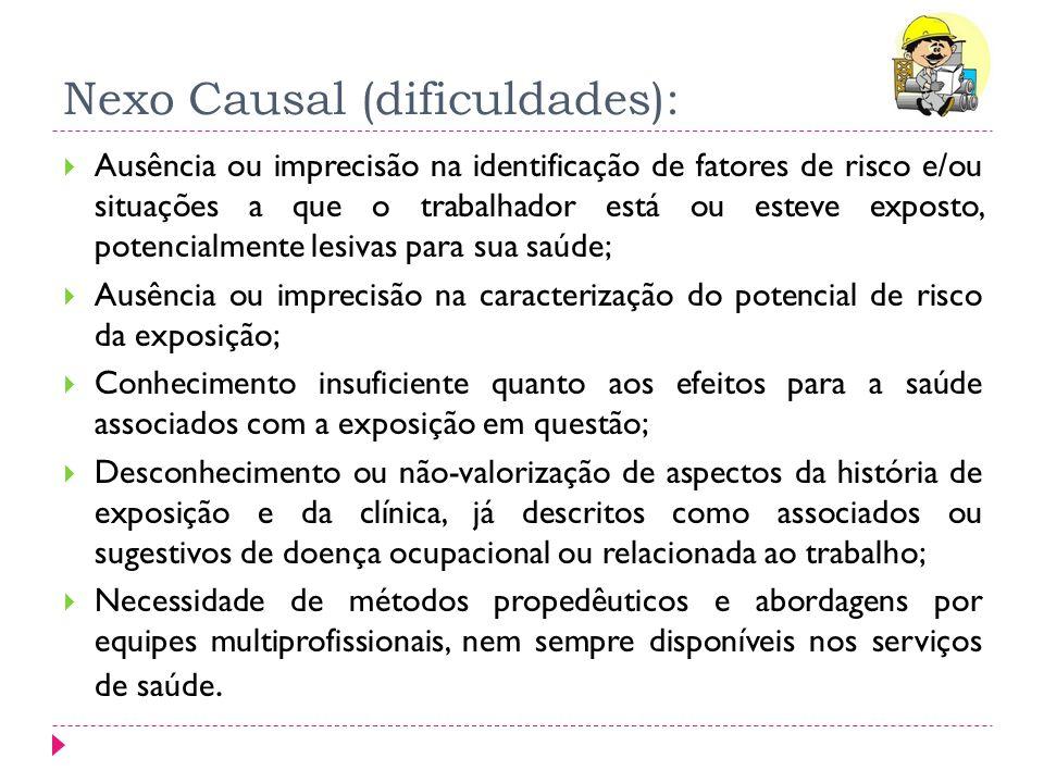 Nexo Causal (dificuldades): Ausência ou imprecisão na identificação de fatores de risco e/ou situações a que o trabalhador está ou esteve exposto, pot