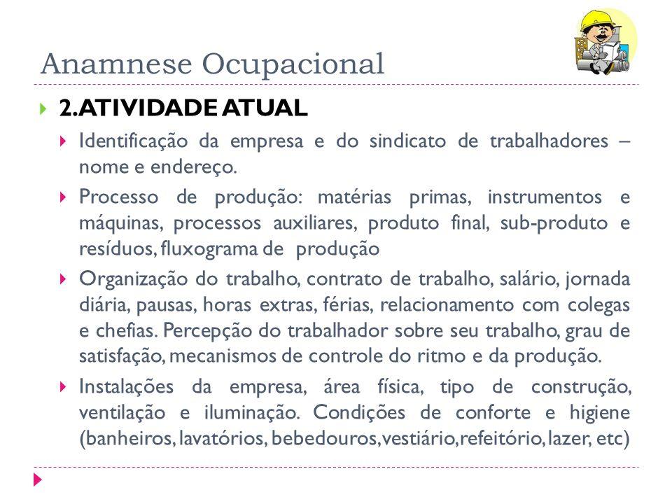 Anamnese Ocupacional 2.ATIVIDADE ATUAL Identificação da empresa e do sindicato de trabalhadores – nome e endereço. Processo de produção: matérias prim