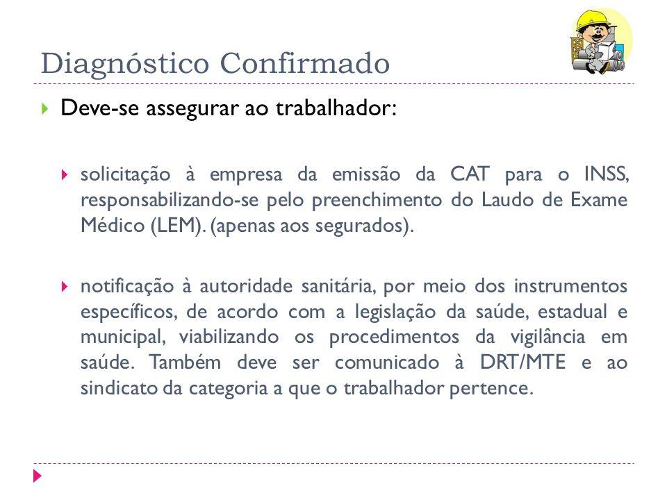 Diagnóstico Confirmado Deve-se assegurar ao trabalhador: solicitação à empresa da emissão da CAT para o INSS, responsabilizando-se pelo preenchimento