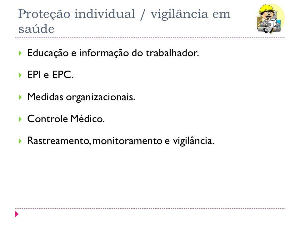Proteção individual / vigilância em saúde Educação e informação do trabalhador. EPI e EPC. Medidas organizacionais. Controle Médico. Rastreamento, mon