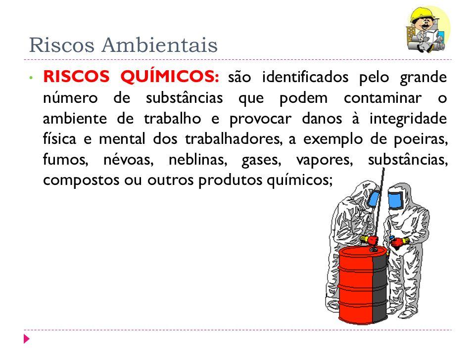 Riscos Ambientais RISCOS QUÍMICOS: são identificados pelo grande número de substâncias que podem contaminar o ambiente de trabalho e provocar danos à
