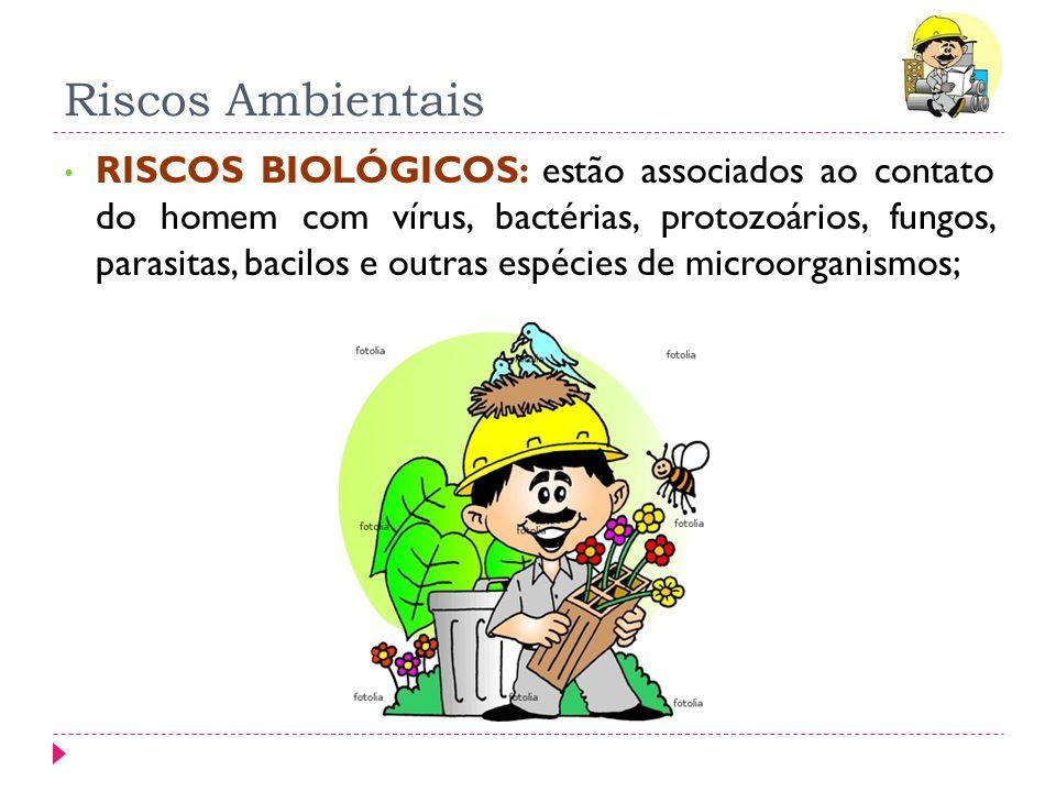 Riscos Ambientais RISCOS BIOLÓGICOS: estão associados ao contato do homem com vírus, bactérias, protozoários, fungos, parasitas, bacilos e outras espé