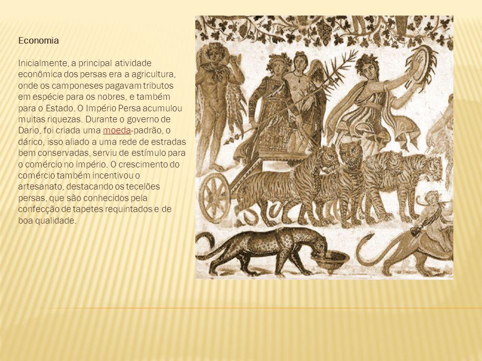 Economia Inicialmente, a principal atividade econômica dos persas era a agricultura, onde os camponeses pagavam tributos em espécie para os nobres, e