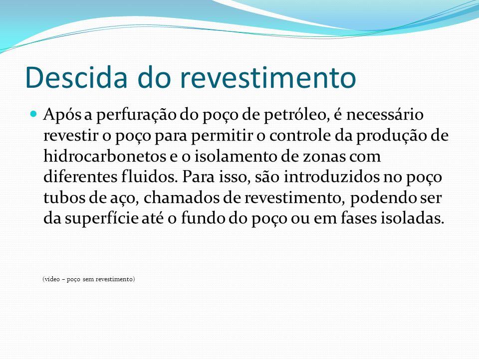 Descida do revestimento Após a perfuração do poço de petróleo, é necessário revestir o poço para permitir o controle da produção de hidrocarbonetos e
